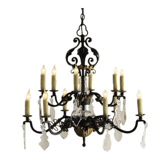 Vintage Crystal, Gilded Iron Two Tier French Chandelier, Twelve Lights, circa 1940