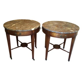Heritage Henredon Round Marble Tables - Pair