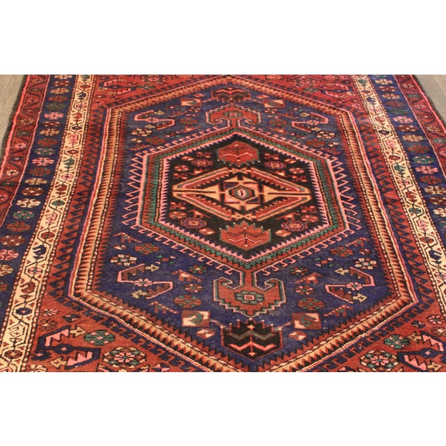 """Vintage Red & Blue Persian Rug - 4'11"""" x 7'10"""" - Image 4 of 4"""
