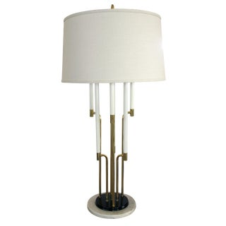 A chic American Tommi Parzinger 1960's 6-light brass table lamp with marble base