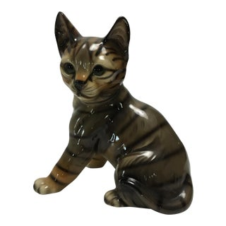 Vintage Ceramic Striped Tabby Cat