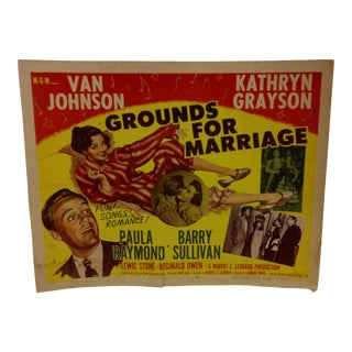 """Vintage Movie Poster """"Grounds for Marriage"""" Van Johnson & Kathryn Grayson - 1950"""