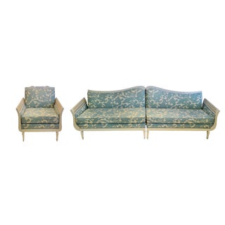 Hollywood Regency Sectional Sofa & Armchair- 3 Pieces