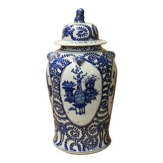 Chinese Blue & White Flowers Theme Porcelain Large General Jar