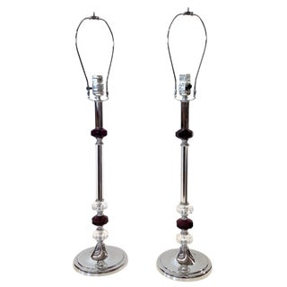 Contemporary Silver & Amethyst Lamps - A Pair