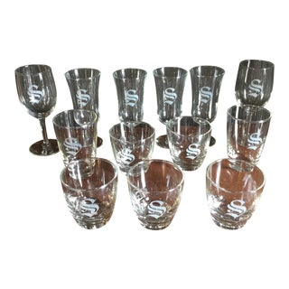 "Collection of Thirteen ""S"" Monogrammed Glasses - Set of 13"