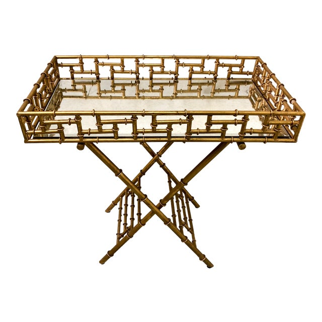 Gilt Metal Faux Bamboo Butler's Tray Table - Image 1 of 5