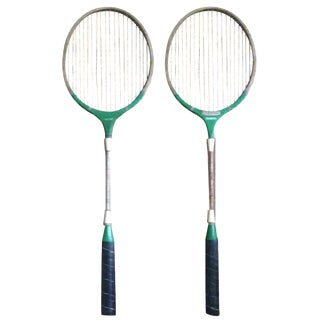 Vintage Wood & Metal Badminton Rackets - A Pair