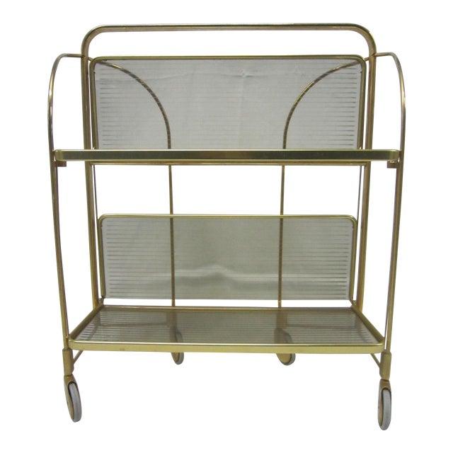 Gold Tone Folding Bar Cart - Image 1 of 5