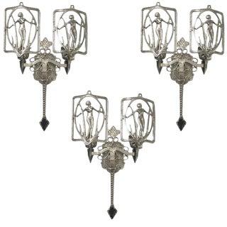 American Art Deco Sconces - Set of 3