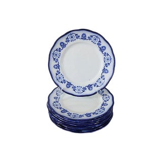 Antique Flow Blue Salad Plates, S/9