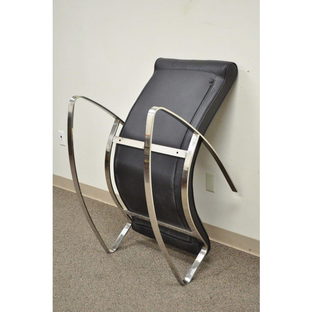 Contemporary Modern Chrome Steel Rocker Rocking Lounge Chair Mid Century Style - Image 6 of 10