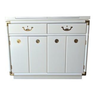 Drexel Hollywood Regency White Lacquer Bar