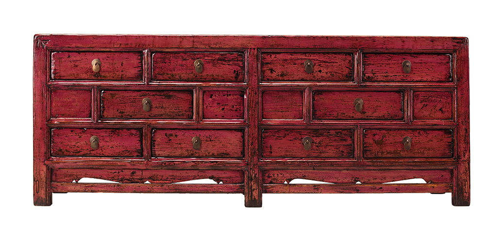 Chinese Red Wood Console Buffet Side Table