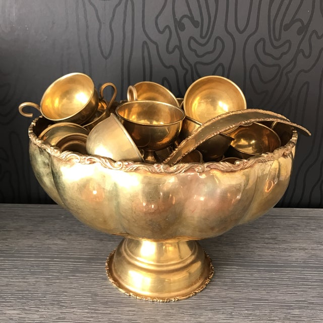 Image of Brass Punchbowl Set - 26 Piece