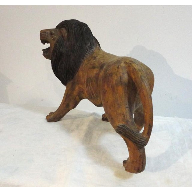 Image of Pair of 19th Century Monumental Hand Carved & Painted Table Top Lions