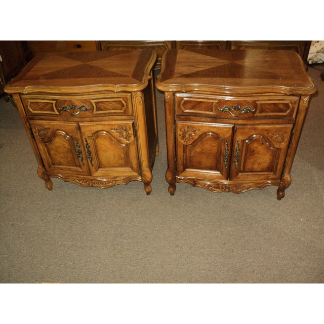 Image of Stanley French Provincial Pecan Nightstands - A Pair