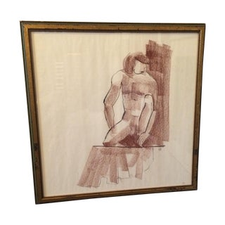Vintage Charcoal Nude Male Drawing