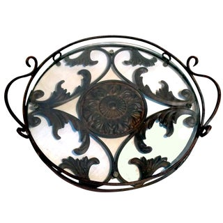 Wrought Iron & Gass Serving Tray