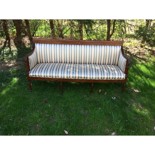 Traditional Antique Sheraton Style Loveseat - Image 2 of 11