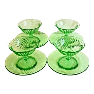 1940s Green Glass Coupe & Saucers - Set of 4