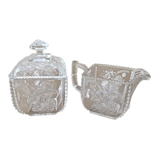 Antique Pressed Glass Sugar and Creamer