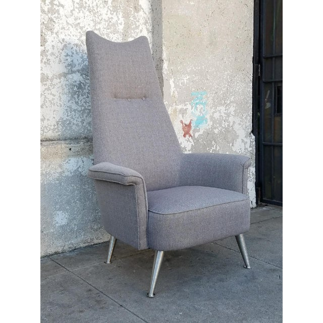 Mid Century Grey Tall Back Lounge Chair - Image 5 of 5
