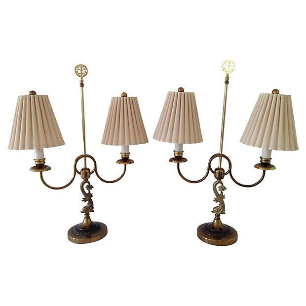 Image of Brass Dolphin Table Lamps - A Pair