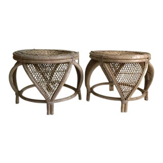Mid-Century Bamboo & Rattan Moroccan Style Tables - Pair