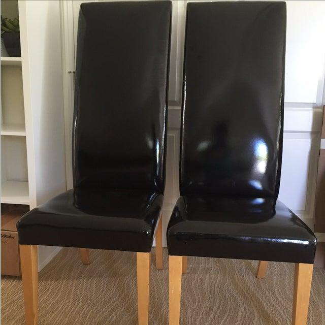 Patent Leather High Back Chairs - A Pair - Image 2 of 8