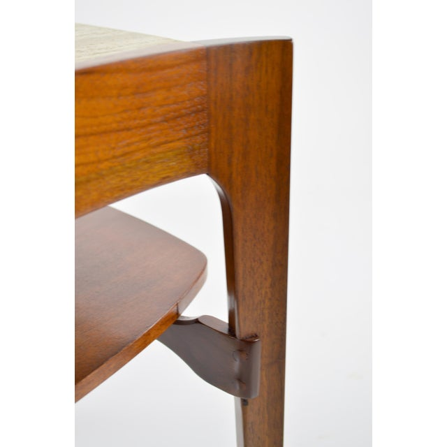 Travertine & Walnut Modern Side Tables - Pair by Bertha Schaefer - Image 3 of 11