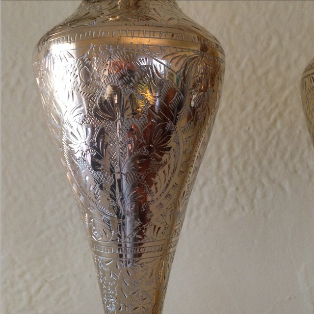 Tall Vintage Brass Vases - a Pair - Image 5 of 9
