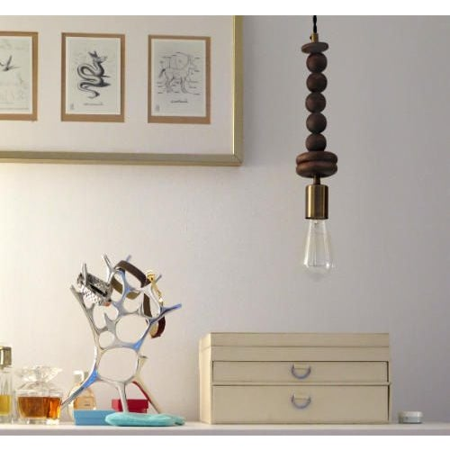 Image of Pendant Light With Hardwood Beads & Antique Brass