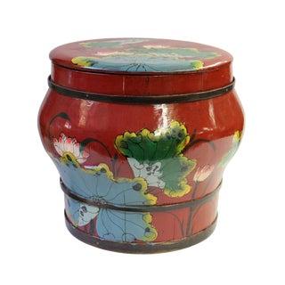 Restored Antique Red Round Wood Container Bucket
