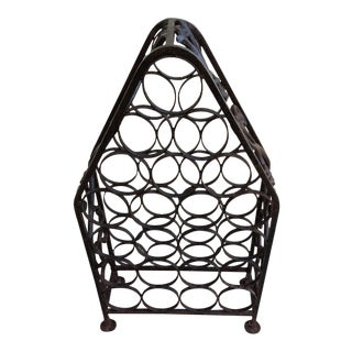 Antique Wrought Iron Wine Bottle Rack