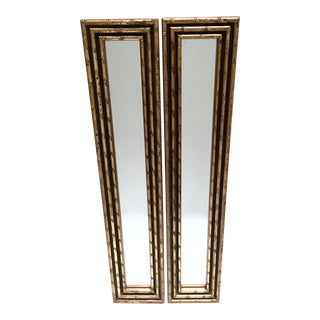 Vintage Gold Faux Bamboo Framed Mirrors - A Pair