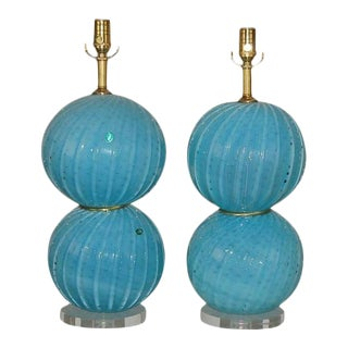 Blue Opaline Vintage Murano Ball Lamps
