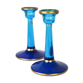 Vintage European Glass Candle Sticks - A Pair