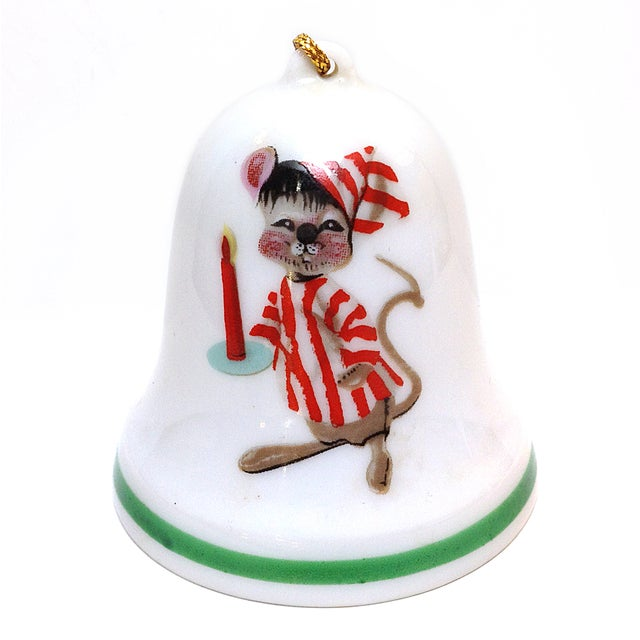 Vintage 1977 Christmas Mouse Porcelain Bell - Image 1 of 3