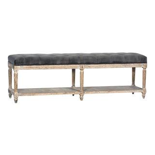 Tufted Grey Velvet Bench