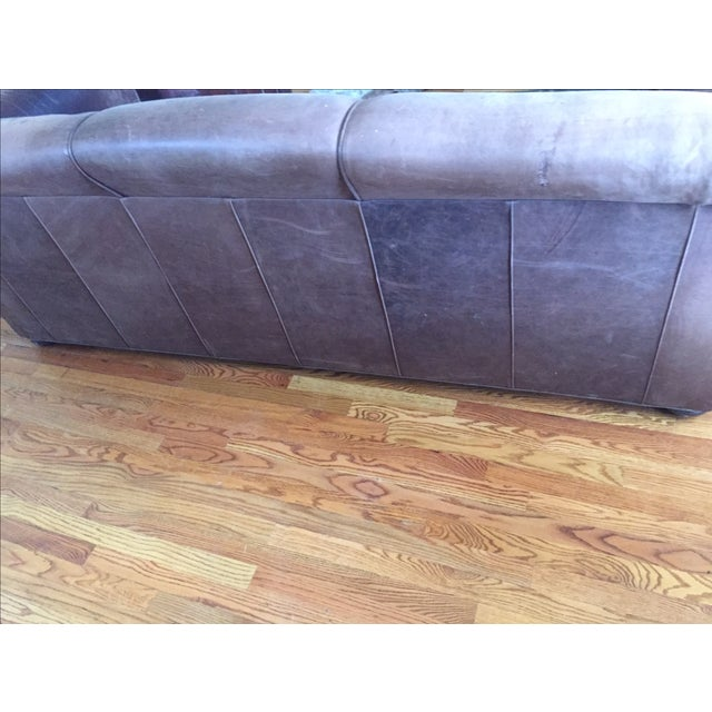 Image of Mitchell Gold Brown Leather Sofa