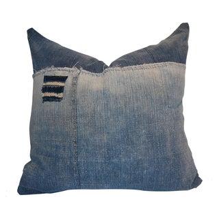 """Addison"" Handwoven Indigo Denim Pillow"