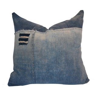 """Addison"" Handwoven Indigo Denim Pillow"