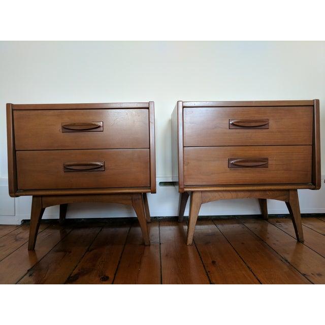 Vintage Mid-Century Wood Nightstands - A Pair - Image 8 of 11