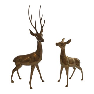 Vintage Large Brass Buck & Doe Sculptures - a Pair