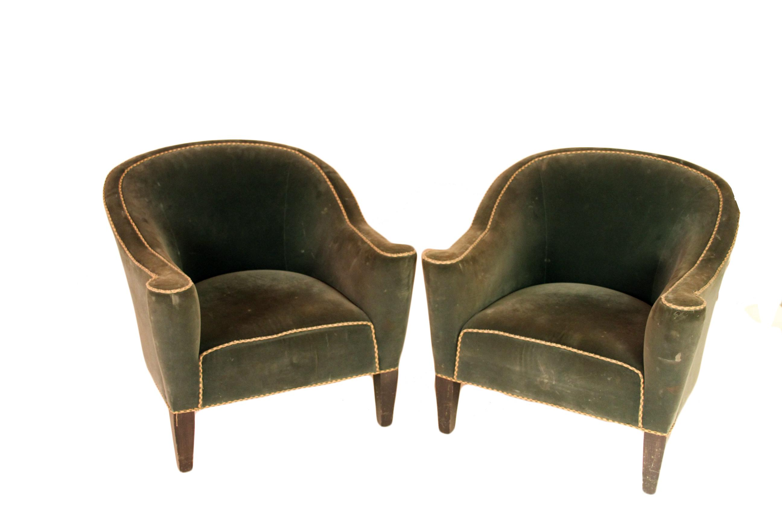 High Quality Art Deco Round Back Club Chairs   A Pair   Image 6 Of 6