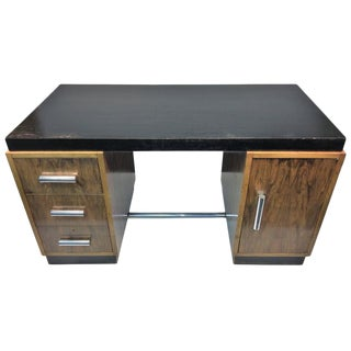 GREAT ART DECO GILBERT ROHDE TWO TONE DESK WITH THICK TUBULAR CHROME HANDLES