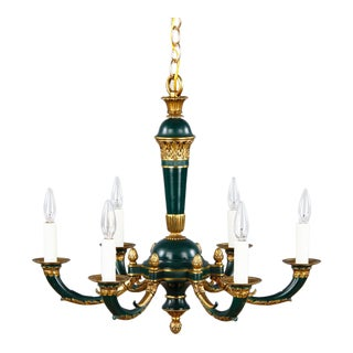 French Empire Style Tole and Gilded Bronze Chandelier, 1920s