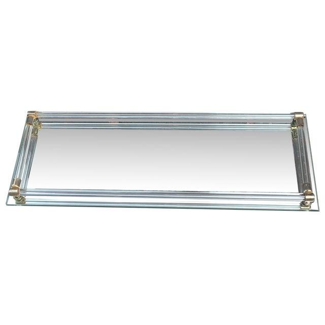 Vintage 80 39 s glam decorative mirror vanity tray chairish for Decorative bathroom tray