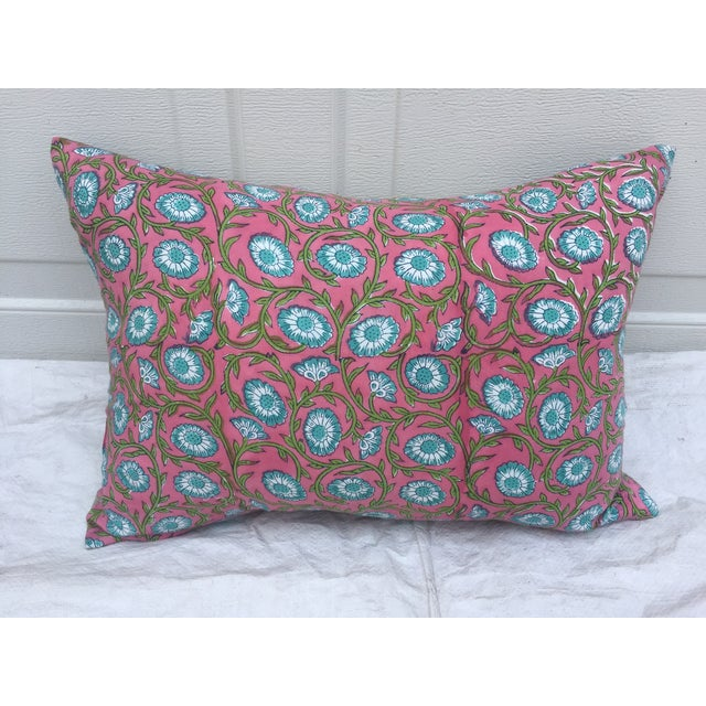 Hand-Blocked Pink Indian Pillows - A Pair - Image 3 of 6